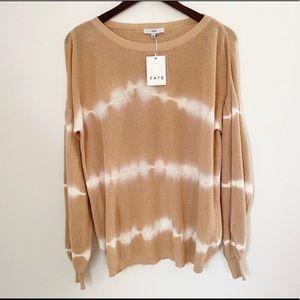 NWT Fate Tan Tie Dye Criss Cross Open Back Sweater
